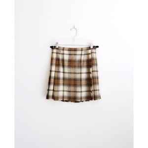 Vtg Laird-Portch Tan Tartan Kilt Skirt fit S 6